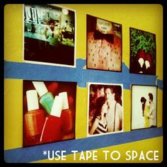 Using painter's tape to evenly space photos
