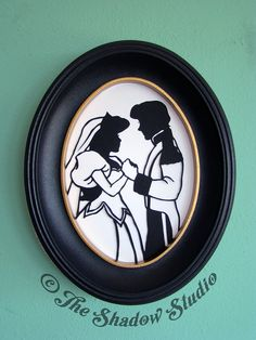 Ariel and Prince Eric Framed Hand-Cut Paper Silhouette Wedding Portrait by TheShadowStudio