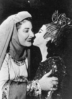 Maria Callas congratulating prima ballerina Violetta Elvin after their performance of Verdi's Macbeth