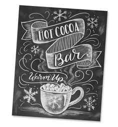 Chalk art DIY by Valerie McKeehan: Learn all the steps to make this cute hot cocoa bar chalkboard sign for your holiday parties