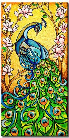 peacock painting yellow - Google Search