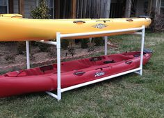 Kayak Storage Plans Thread: PVC Storage Rack for garbage cans in garage Pvc Storage, Kayak Storage Rack, Kayak Rack, Boat Storage, Storage Ideas, Garage Storage, Kayak Holder, Bike Rack, Outdoor Storage