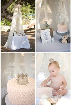 Love: the pink and gold, the smash cake under the cloche and the netting canopy over the baby (great light diffuser if you're outside)