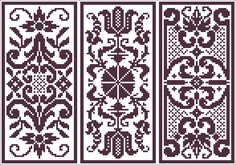 Three doilies or panels | Charts for cross stitch or filet crochet.