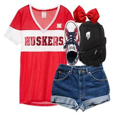"""Go Huskers!"" by amberfmillard-1 ❤ liked on Polyvore featuring The North Face and Converse"