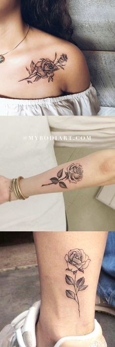 Beautiful Single Rose Tattoo Ideas for Women Black Shoulder Arm Ankle Floral F Trendy Tattoos, Small Tattoos, Tattoos For Guys, Delicate Flower Tattoo, Flower Tattoos, Flower Tattoo Shoulder, Shoulder Tattoos, Sleeve Tattoos For Women, Tattoo Women