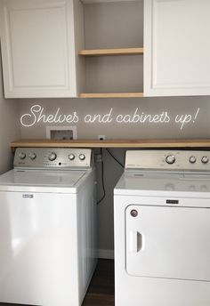 Laundry Room Storage Solutions - Add cabinets and shelving above washer and dryer for storage and organization. Tiny Laundry Rooms, Laundry Room Remodel, Laundry Room Cabinets, Farmhouse Laundry Room, Laundry Room Organization, Laundry Room Design, Laundry In Bathroom, Small Laundry Closet, Laundry Storage