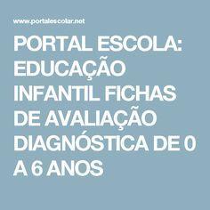 PORTAL ESCOLA: EDUCAÇÃO INFANTIL FICHAS DE AVALIAÇÃO DIAGNÓSTICA DE 0 A 6 ANOS
