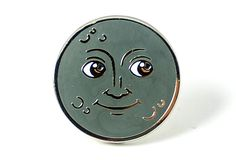 Moon Face Pin by Pintrill x x Silver metal pin with hard enamel Black rubber pin clutch Pin And Patches, Iron On Patches, Moon Emoji, Cool Pins, Metal Pins, Hat Pins, Up Girl, Pin Badges, Lapel Pins