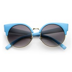 Indie Half Frame Vintage Inspired Round Circle Cat Eye Sunglasses. (black gunmetal)