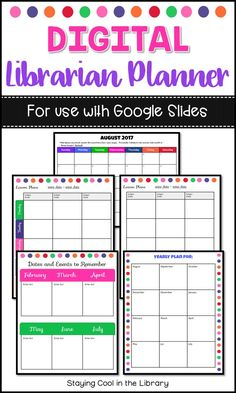 Digital School Library Planner Google Slides Lesson PlansLibrary