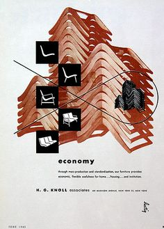"PG442 ""Economy, design for Knoll"" Poster by Alvin Lustig (1945)"