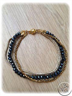 Bracelet perles et ruban Mokuba par ByVibi sur Etsy,