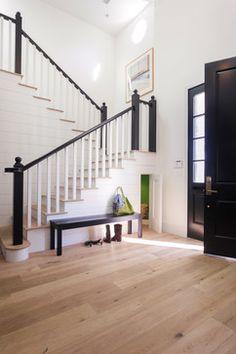 Shiplap, light wood floors, black contrasts