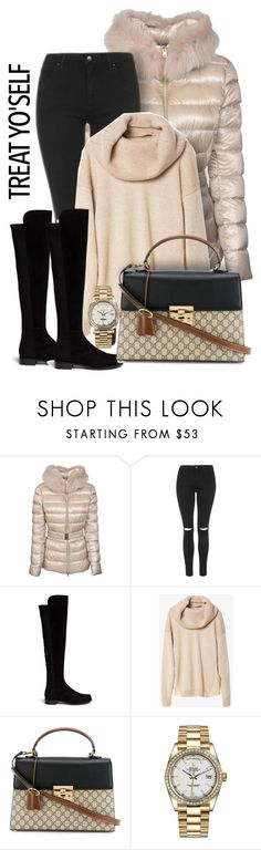 """""""Treat Yo'self to Winter Essentials"""" by sonyastyle ❤ liked on Polyvore featuring Herno, Topshop, Stuart Weitzman, Gucci and Rolex"""