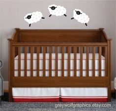 Sheep Wall Decals  Leaping  set of 3 sheep by greywolfgraphics