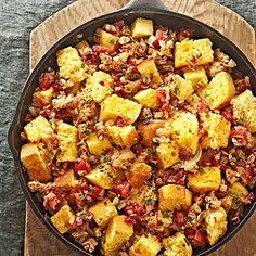 Corn Bread Stuffing with Tomatoes and Sausage From Better Homes and Gardens, ideas and improvement projects for your home and garden plus recipes and entertaining ideas.