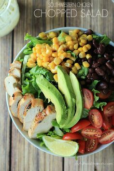 A Southwestern inspired Chopped Salad with grilled Chicken, tons of vegetables, and topped off with a Creamy Poblano Lime Ranch Dressing! | Julie's Eats and Treats