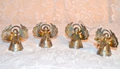 Angel Christmas Ornaments Set of 4 Metal Angel by WVpickin on Etsy