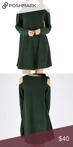 "DRESS - Cold Shoulder - Long Sleeve - Swing Dress This dress provides the perfect flow - it is flattering, adorable & ready for any occasion / seasonal parties! Color: forest green, brand new, made in China, 55% cotton 35% polyester 10% spandex, long sleeved dress with a ""cold shoulder"" cut out design! ❌TRADES❌ Dresses Long Sleeve"