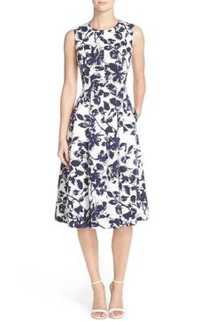 Eliza J Seamed Floral Faille Fit & Flare Dress available at #Nordstrom