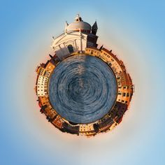 Venice Italy 360 degree panorama of the city as a little planet. Unique view of Venice. Wall Murals, Wallpaper Murals, Little Planet, Custom Wallpaper, Us Images, Venice Italy, Monuments, City, World