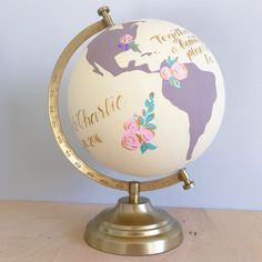 "Painted World Globe - Custom Wedding Guestbook or Nursery Hand Painted and Lettered Floral  8"" diameter  Globe by NewlyScripted on Etsy https://www.etsy.com/listing/280380090/painted-world-globe-custom-wedding"