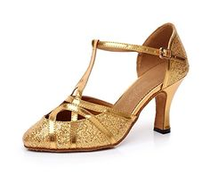 Minitoo QJ6133 Womens Round Toe Gold PU Leather Glitter Salsa Tango Ballroom Latin T-Strap Dance Sandals 6 M US Minitoo http://www.amazon.com/dp/B00IZGFMKO/ref=cm_sw_r_pi_dp_lDhhvb0ZC88V7