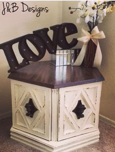 End table. Hexagon end table refinished in cream chalk paint with an espresso top. Lightly distressed with antique hardware. Follow us on Instagram @jandb_designs Facebook: JandB-Designs AZ https://m.facebook.com/jandbdesignsaz