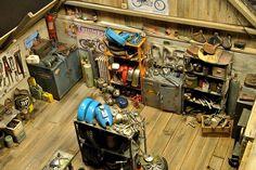 Detail from Anders Malmberg's impressive bike shop diorama Moto Miniature, Vitrine Miniature, Miniature Houses, Escala Ho, Tiny World, Honda, Mario, Model Building, Ho Scale