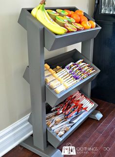 DIY Snack Station / DIY Produce Stand / DIY Display Stand Definitely like this idea.thinking I might do this for the boys eventually -- DIY Snack Station / DIY Produce Stand / DIY Display Stand Snack Station, Homework Station, Snack Bar, Produce Stand, Diy Snacks, Keto Snacks, Diy Interior, Retail Interior, Interior Design