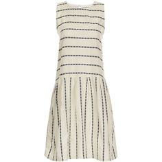 Ace & Jig Cream Cotton Sleeveless Rally Dress (€275) ❤ liked on Polyvore featuring dresses, white cotton dress, striped sleeveless dress, white sleeveless dress, white dress and striped dress