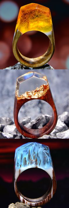 Different wood and resin rings you can order in our shop.