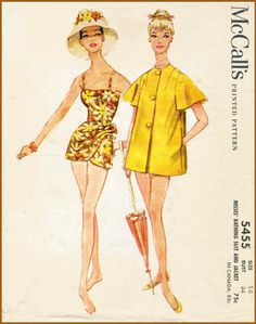 1960s 60s McCall 5455 repro vintage swimsuit sewing pattern one piece spaghetti strap bathing suit sarong playsuit swimwear bust 34 b34