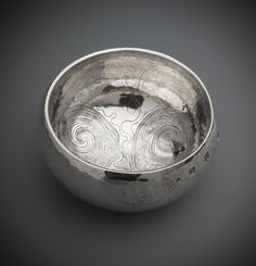 Silver bowl with a flattened hemispherical bowl with incurved rim, engraved on the exterior with irregular running scrollwork. Scottish, by Malcolm Appleby Eduardo Paolozzi, Call For Entry, National Museum, Archaeology, New Art, Cool Pictures, Decorative Bowls, Scotland, Contemporary Art