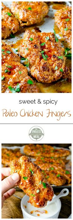 and Spicy Paleo Chicken Fingers These sweet, spicy and sticky paleo chicken fingers will be a hit with your whole family!These sweet, spicy and sticky paleo chicken fingers will be a hit with your whole family! Whole Food Recipes, Diet Recipes, Cooking Recipes, Healthy Recipes, Paleo Meals, Paleo Chicken Recipes, Paleo Food, Paleo Chicken Tenders, Paleo Meal Plan