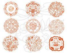 round auspicious patterns vector
