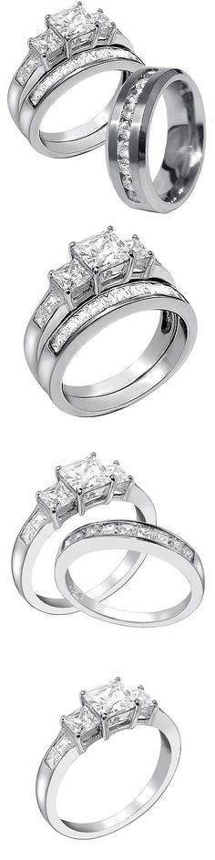CZ Moissanite and Simulated 92878: His Stainless Steel Hers 925 Sterling Silver 3 Pcs Princess Cut Wedding Ring Set BUY IT NOW ONLY: $47.99