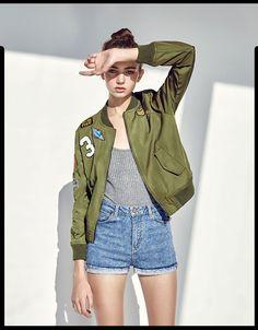 green bomberjack + grey top + denim shorts (bershka)