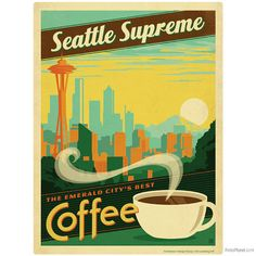 Seattle Coffee Removable Wall Decal by RetroPlanetUSA on Etsy