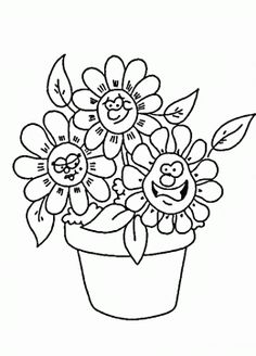 coloring cartoon spring face | cartoon Flowers Coloring Pages ...