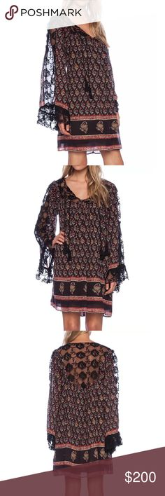 FREE PEOPLE Mini Dress Patterned Bohemian Classic Size Medium. New With Tags. $148 MSRP + Tax.  • Beautiful mini dress featuring an effortless silhouette and tassel ties at front. • Multi-color floral printed tones throughout & raw embroidered mesh detailing. • Lightweight and swingy with long flared bell sleeves. • Self-lined with a mini dress. • Hip pockets. • Measurements provided in our photos.  {Southern Girl Fashion - Closet Policy}  ✔️ Same-Business-Day Shipping (10am CT). ✔️ Price…