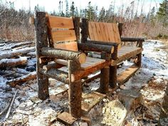 Building chairs out of left over firewood.