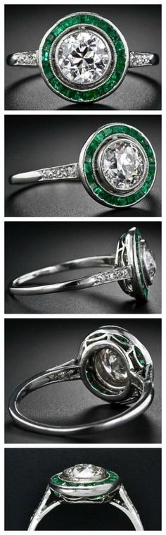.95 carat Art Deco diamond engagement ring with calibre emeralds.  Via Diamonds in the Library.