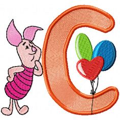 Free Winnie Pooh, Tigger, Piglet Alphabet machine embroidery designs