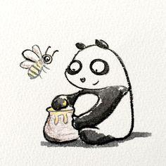 【一日一大熊猫】 2015.3.8 ミツバチは養蜂で蜂蜜の採取だけでなく 農作物の受粉としても、とても人間と関わりが深いね。 #pandaJP