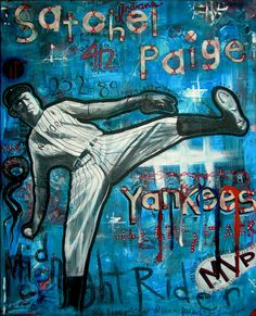 Satchel Paige, by Bill Cormalis Jr. Painting/Collage