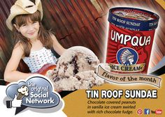 Tin Roof Sundae Flavor of the Month January. Smooth vanilla ice cream ribboned with rich chocolate swirl with generous amounts of chocolate covered peanuts.
