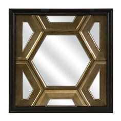 The Hexicomb mirror, designed by Melissa Vasquez, is a striking geometric in gold and black. The honeycomb pattern is even more dramatic when displayed in multiple panels. Hang mirrors vertically or horizontally, or fill a wall to create a glamorous sensation.
