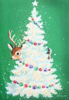 Reindeer behind the tree